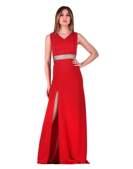 DRESS RED-GOLD 106